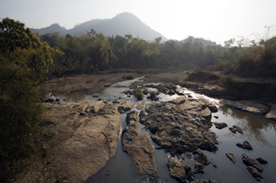 The Vansadhara river. The river is one of two that flows from Niramgiri mountain. The effect of the Vedanta plant will be to dry up streams that feed the river depriving the Dongria Kondh of fresh water