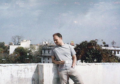 A very old photo of me on the roof of the cafe