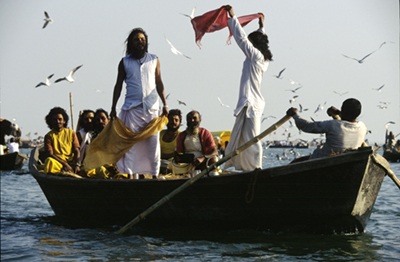 India - Allahabad - Saddhus in a boat at the Kumbh Mela