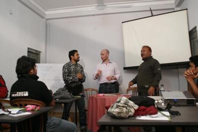 Bangladesh - Chittagong - Abir, Stuart and Shoeb address the class ©Adnam Wahid