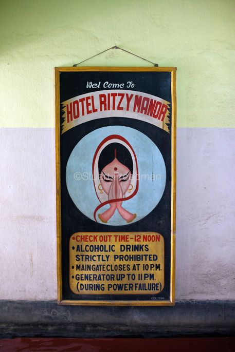 India - Chandannagar - Hand painted sign for the Hotel Ritzy Manor