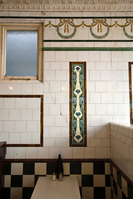 UK - London - Period tiling at Manze's Eel, Pie and Mash shop in Walthamstow, East London