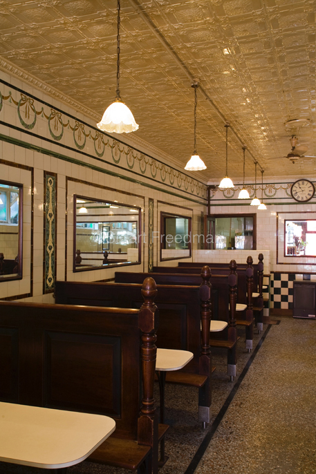 UK - London - Manze's Eel, Pie and Mash shop in Walthamstow, East London, UK.Although the shop still trades under the original Manze name, it is now independently owned and no longer part of the Manze family. This resturant is a Grade-2 listed building with antique pressed-tin tiles on the ceiling
