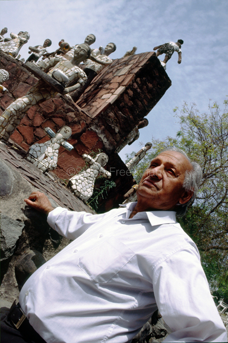 India - Chandigarh - Nek Chand in his Rock Garden.