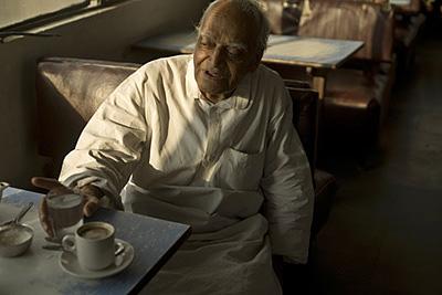 India - New Delhi - An elderly man in the Indian Coffee House, Baba Kharak Singh Marg