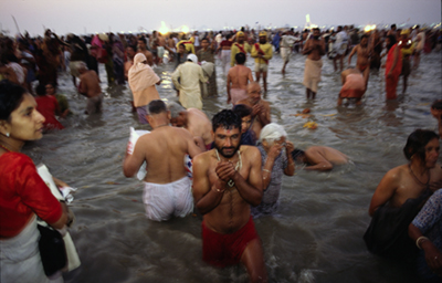 India - Allahabad - Pilgrims ritually bathe at the Ardh Kumbh Mela