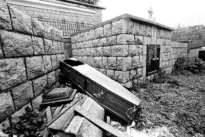 "Lebanon - B'charre - A mysteriously empty coffin in a graveyard in Khalil Gibran's birthplace, B'charre, Northern Lebanon..""... do not grieve for me... I am gone from this place..."". Gibran"