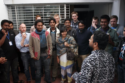 Bangladesh - Chittagong - Abir Abdullah talking to students (and myself) during the workshop