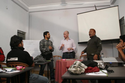 Bangladesh - Chittagong - Abir, Stuart and Shoeb address the class ©Adnam Wahid