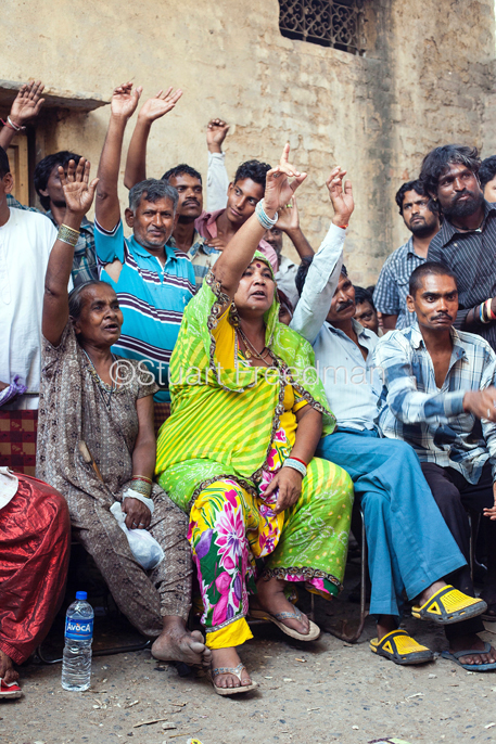 India - Delhi - A local meeting of residents and activists at Kathputli Colony that is faced with destruction and closure