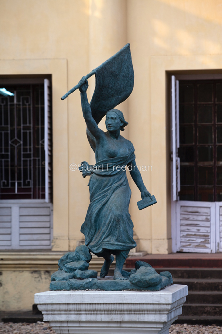 India - Chandannagar - A statue of Liberty outside the museum in Chandannagar, originally the home of Joseph François Dupleix who was appointed governor of the city in 1730.