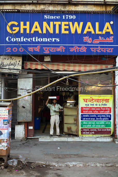 Raj who delivers the sweets in the Ghantewallah Confectionary shop on Chandni Chowk.
