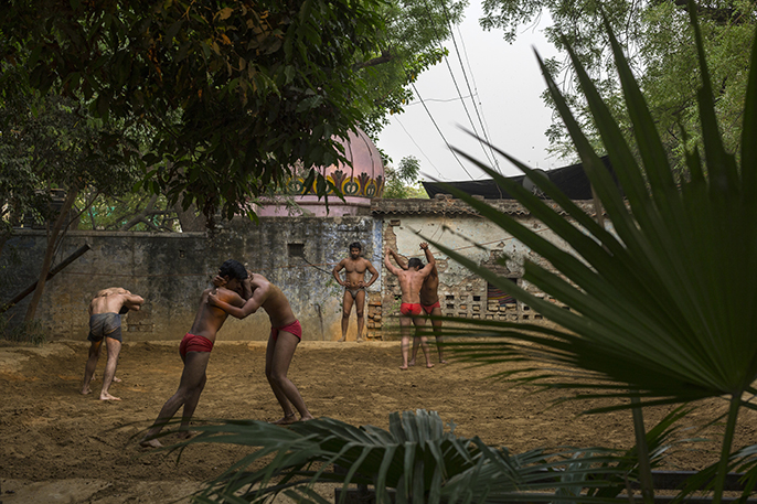 Wrestlers at the Guru Jasram Ji Akhara, New Delhi, India